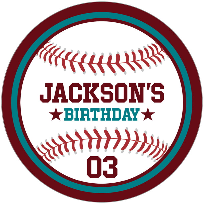 circle food/craft labels - teal & maroon - baseball (set of 12)