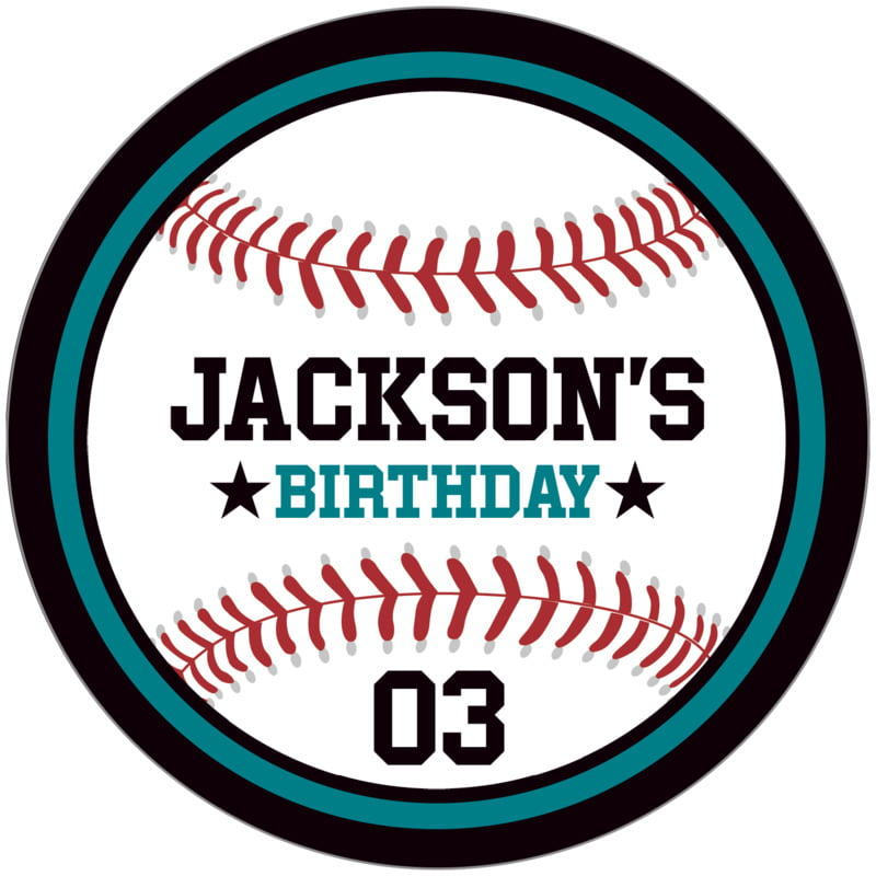 circle food/craft labels - teal & black - baseball (set of 12)
