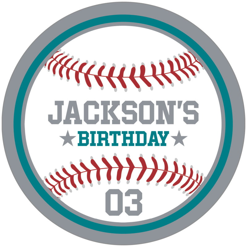 circle food/craft labels - teal & silver - baseball (set of 12)