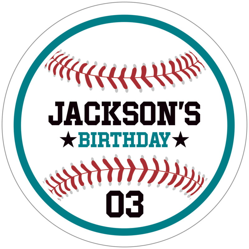 circle food/craft labels - teal & white - baseball (set of 12)