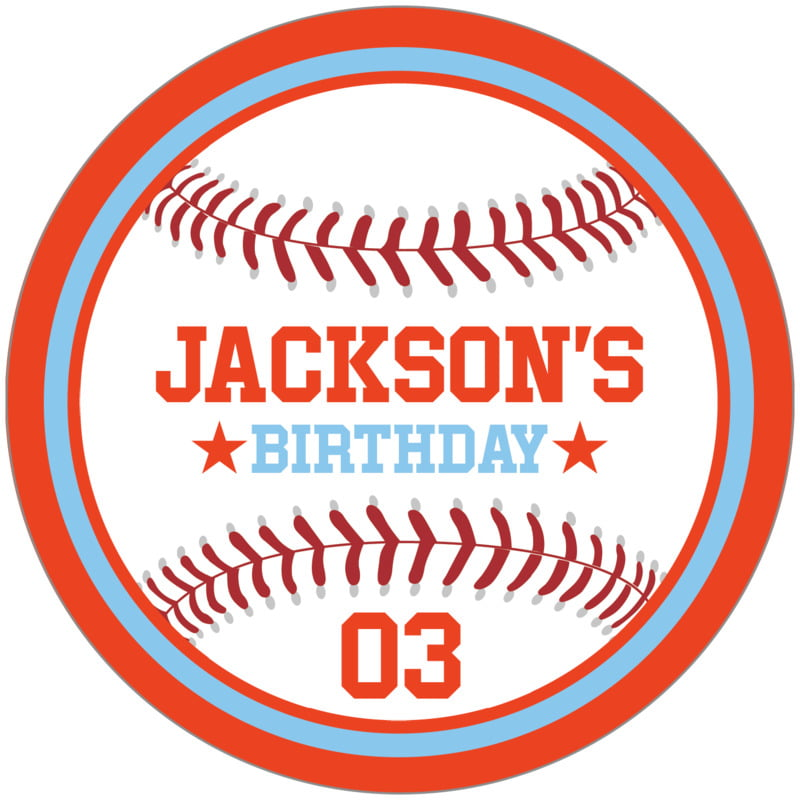 circle food/craft labels - light blue & orange - baseball (set of 12)