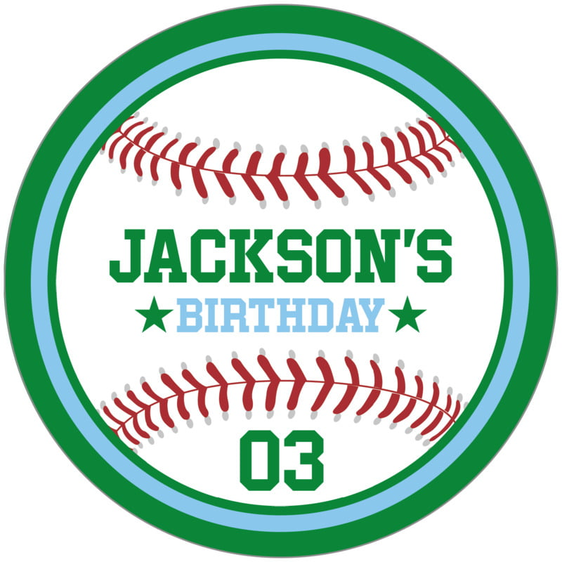 circle food/craft labels - light blue & green - baseball (set of 12)