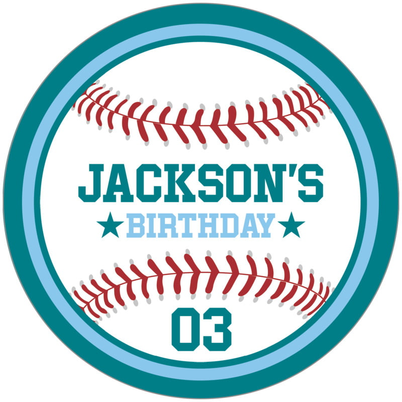 circle food/craft labels - light blue & teal - baseball (set of 12)