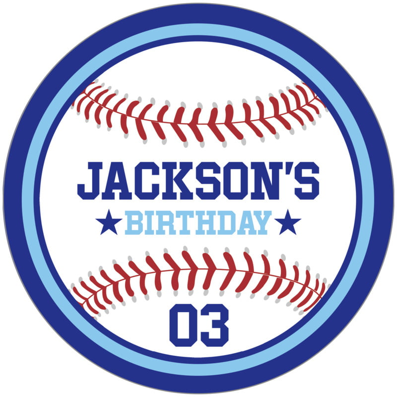 circle food/craft labels - light blue & royal - baseball (set of 12)