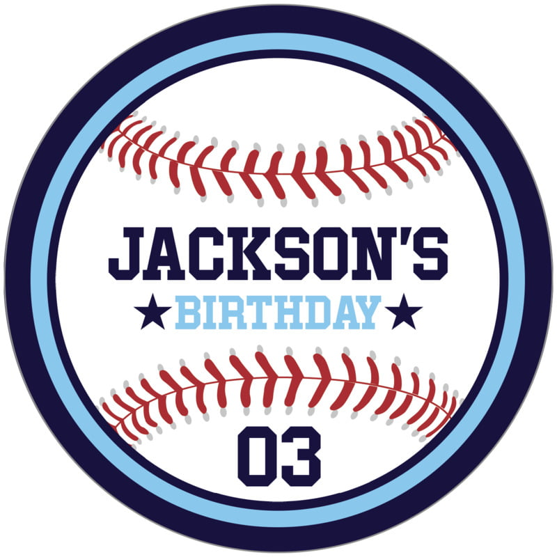 circle food/craft labels - light blue & navy - baseball (set of 12)