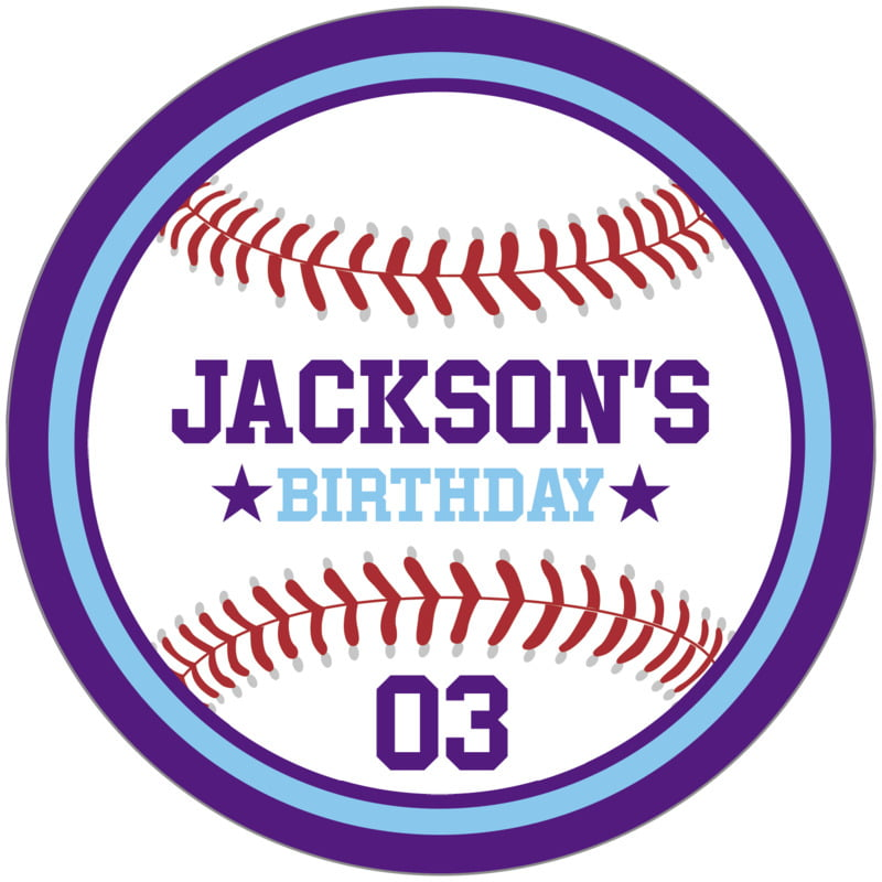 circle food/craft labels - light blue & purple - baseball (set of 12)