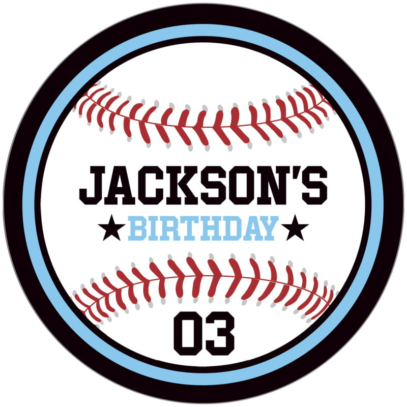 circle food/craft labels - light blue & black - baseball (set of 12)
