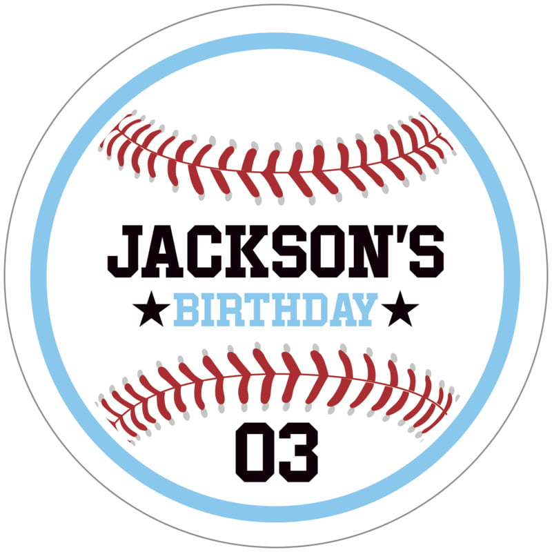 circle food/craft labels - light blue & white - baseball (set of 12)