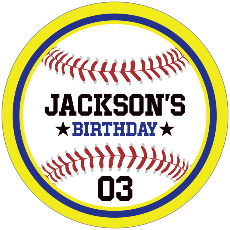 circle food/craft labels - royal & yellow - baseball (set of 12)