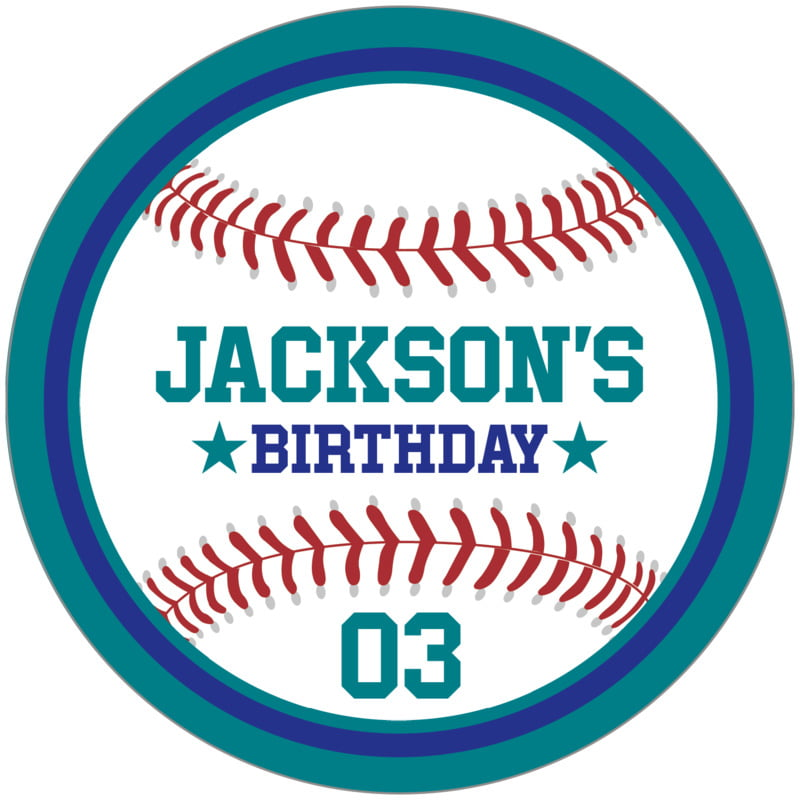 circle food/craft labels - royal & teal - baseball (set of 12)