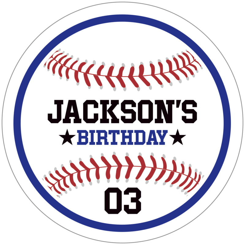 circle food/craft labels - royal & white - baseball (set of 12)