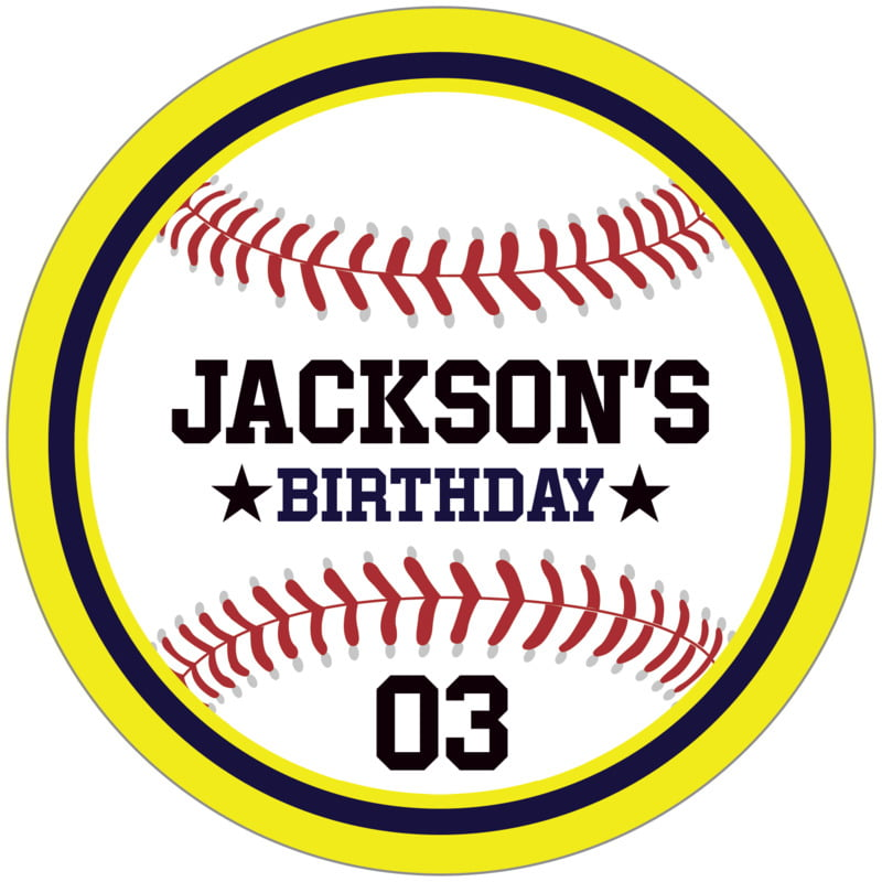circle food/craft labels - navy & yellow - baseball (set of 12)