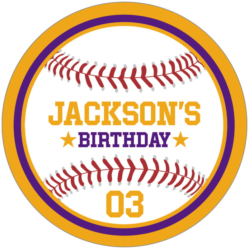 circle food/craft labels - purple & gold - baseball (set of 12)