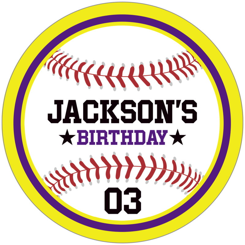 circle food/craft labels - purple & yellow - baseball (set of 12)