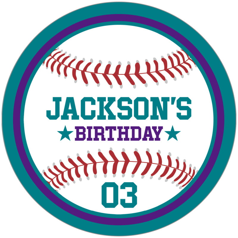 circle food/craft labels - purple & teal - baseball (set of 12)