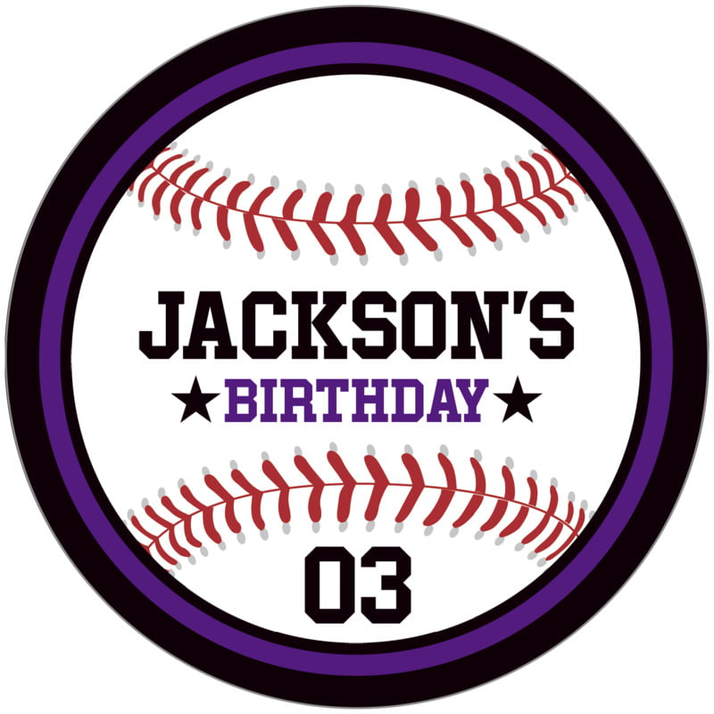 circle food/craft labels - purple & black - baseball (set of 12)