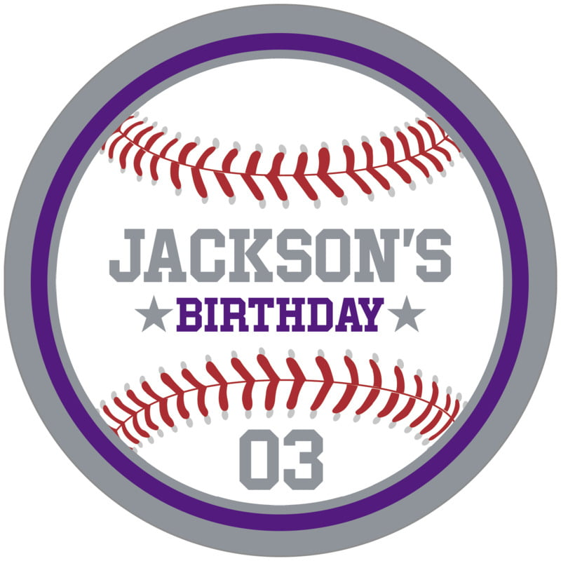 circle food/craft labels - purple & silver - baseball (set of 12)
