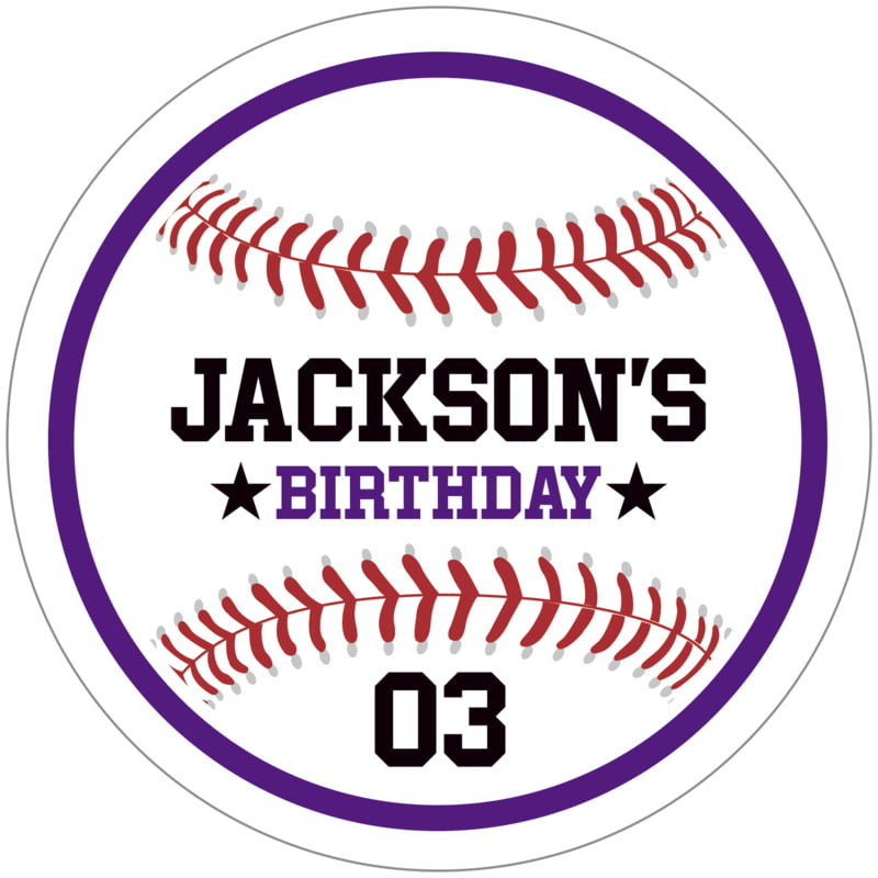 circle food/craft labels - purple & white - baseball (set of 12)