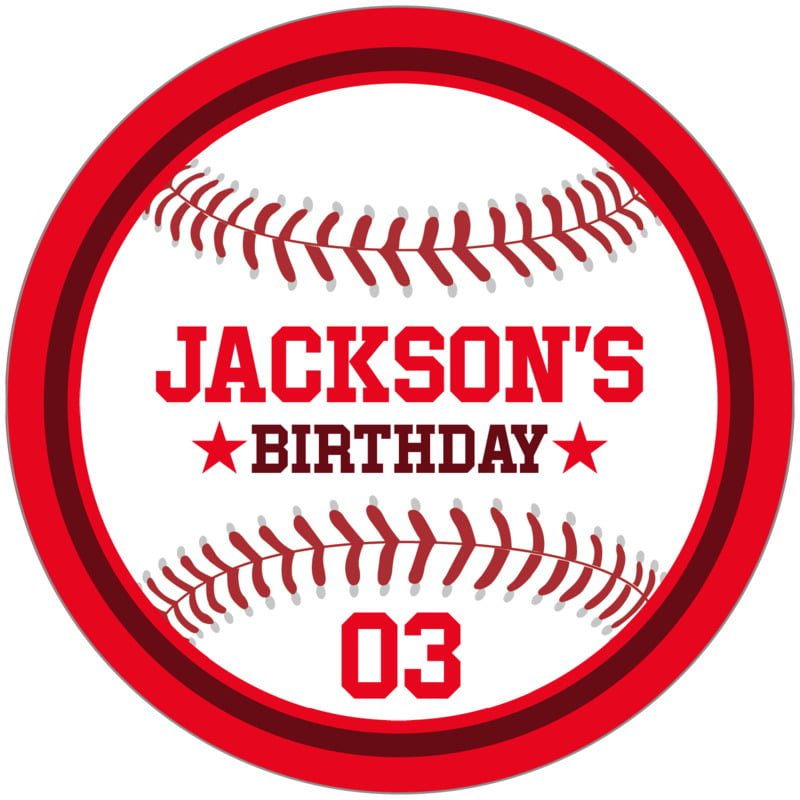 circle food/craft labels - maroon & red - baseball (set of 12)