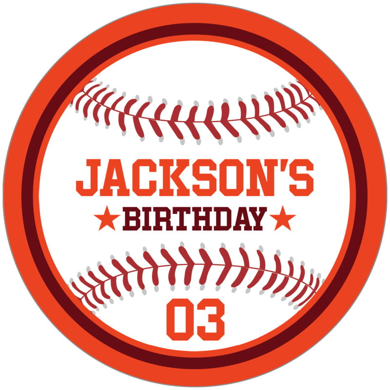 circle food/craft labels - maroon & orange - baseball (set of 12)