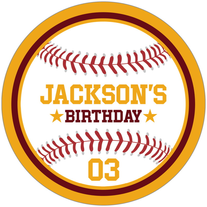 circle food/craft labels - maroon & gold - baseball (set of 12)