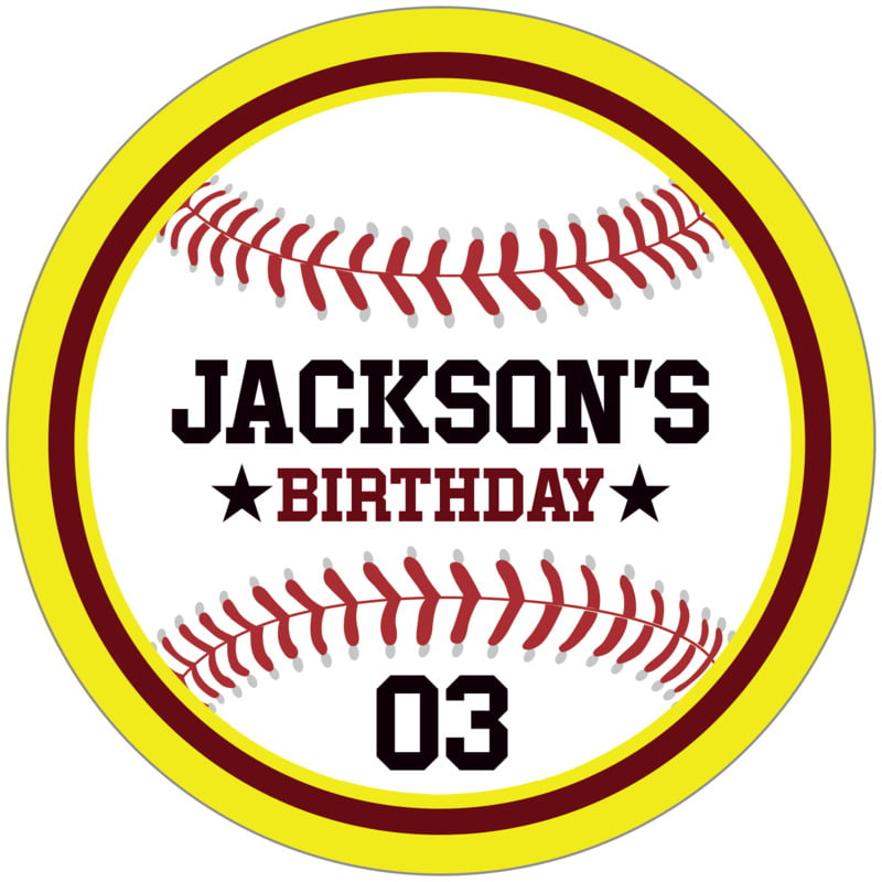 circle food/craft labels - maroon & yellow - baseball (set of 12)