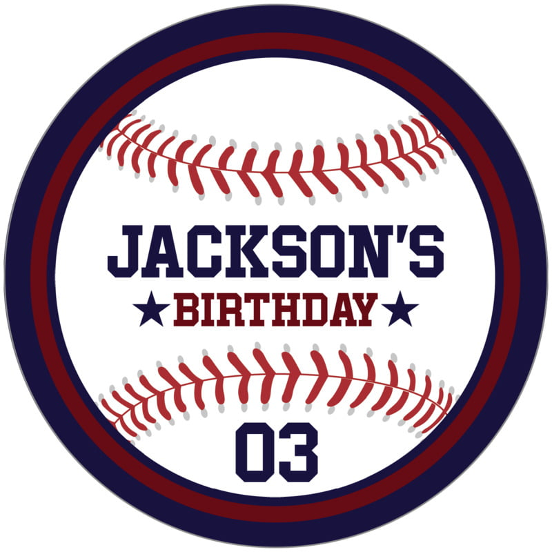 circle food/craft labels - maroon & navy - baseball (set of 12)