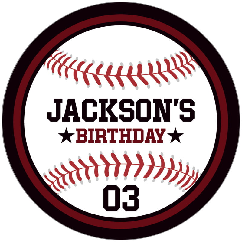 circle food/craft labels - maroon & black - baseball (set of 12)