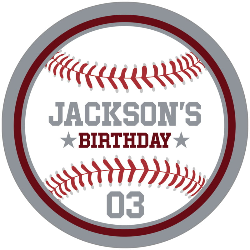 circle food/craft labels - maroon & silver - baseball (set of 12)