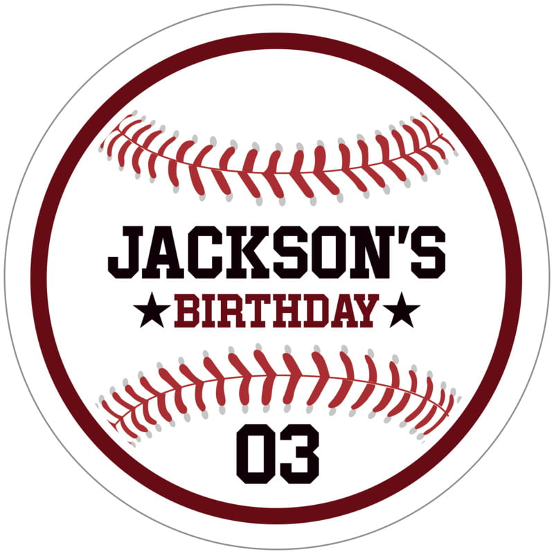 circle food/craft labels - maroon & white - baseball (set of 12)