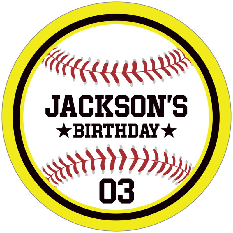 circle food/craft labels - black & yellow - baseball (set of 12)