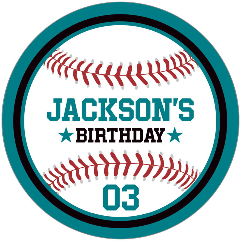 circle food/craft labels - black & teal - baseball (set of 12)