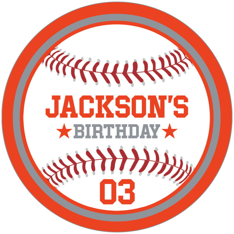 circle food/craft labels - silver & orange - baseball (set of 12)