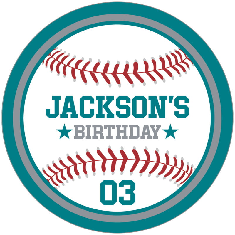 circle food/craft labels - silver & teal - baseball (set of 12)