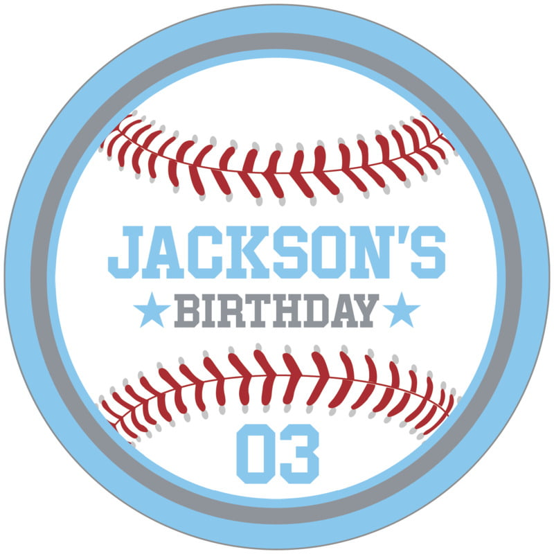 circle food/craft labels - silver & light blue - baseball (set of 12)