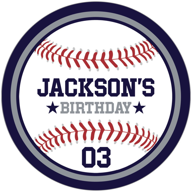 circle food/craft labels - silver & navy - baseball (set of 12)