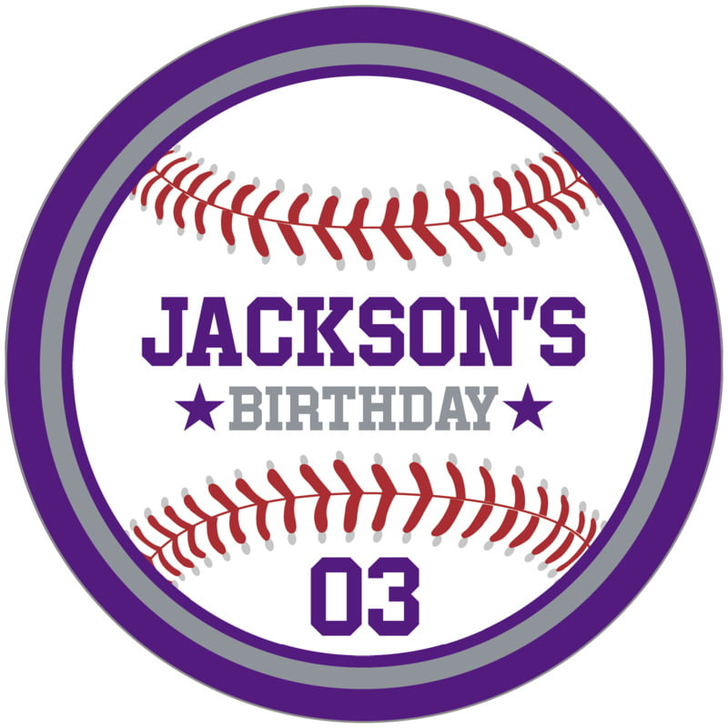circle food/craft labels - silver & purple - baseball (set of 12)