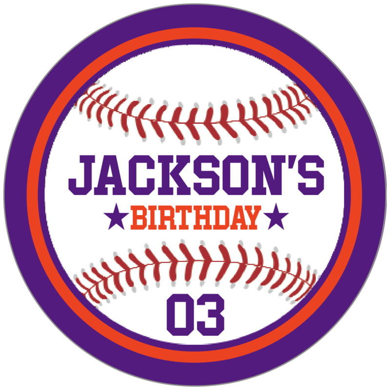 circle food/craft labels - orange & purple - baseball (set of 20)