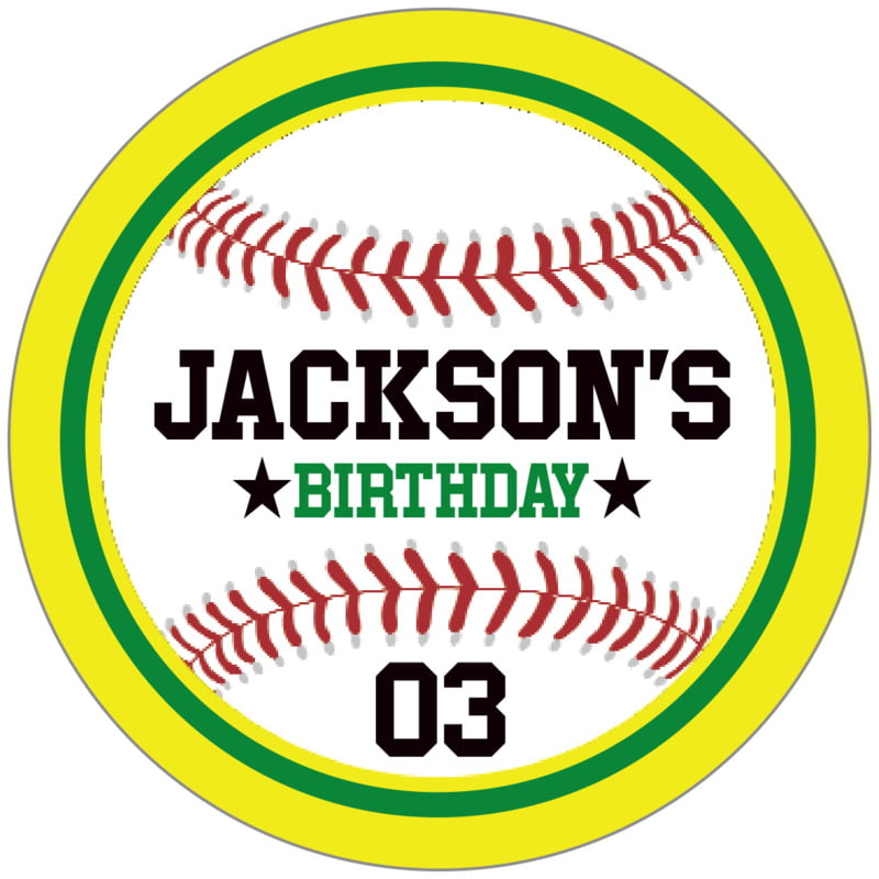 circle food/craft labels - green & yellow - baseball (set of 20)