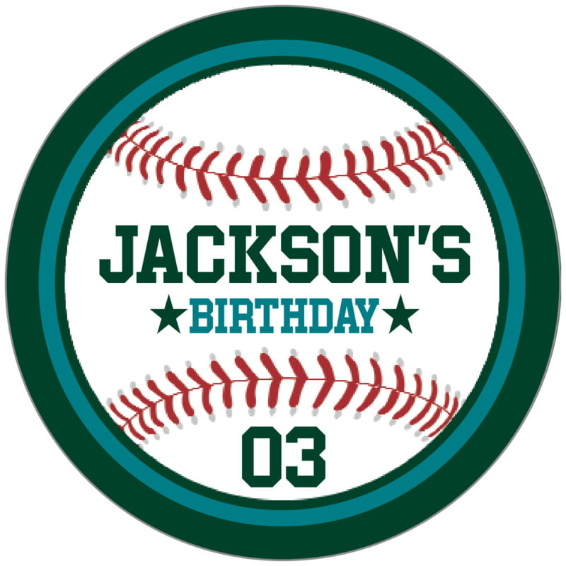 circle food/craft labels - teal & forest - baseball (set of 20)
