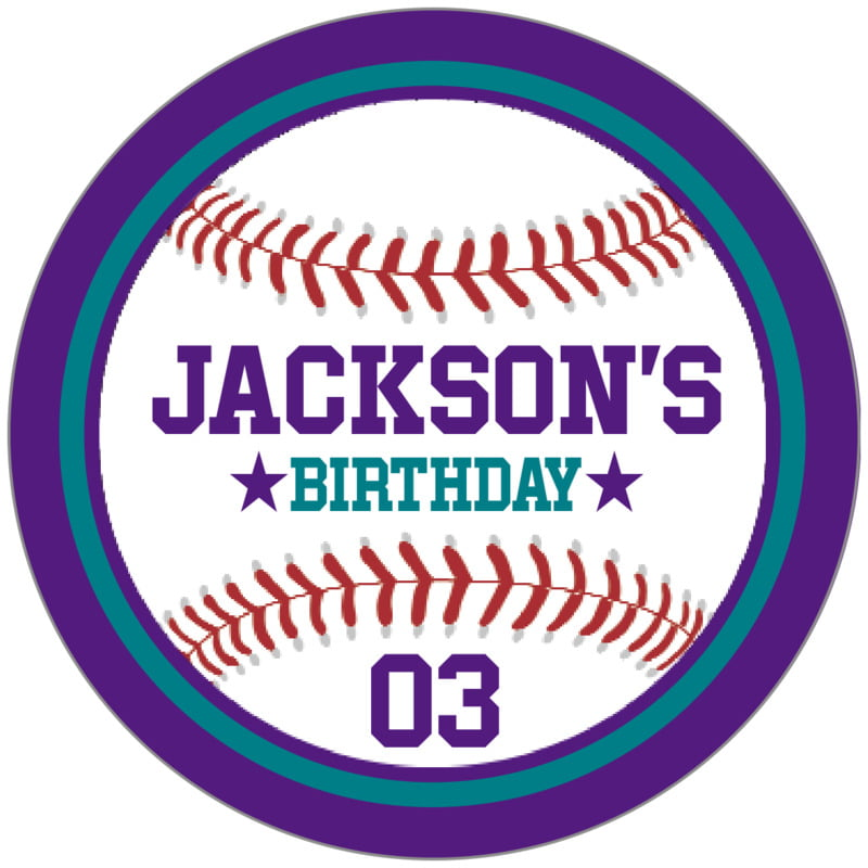 circle food/craft labels - teal & purple - baseball (set of 20)