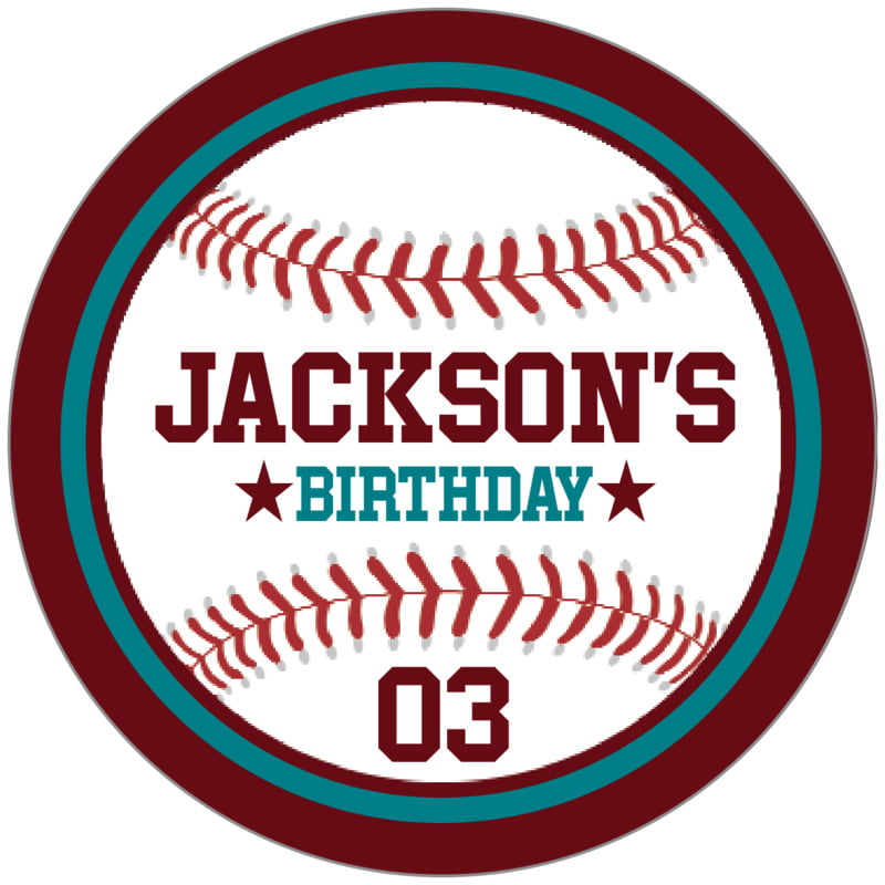circle food/craft labels - teal & maroon - baseball (set of 20)