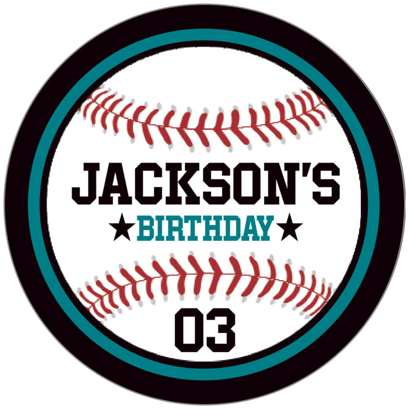 circle food/craft labels - teal & black - baseball (set of 20)