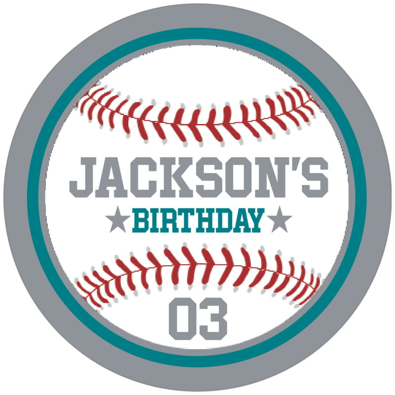 circle food/craft labels - teal & silver - baseball (set of 20)