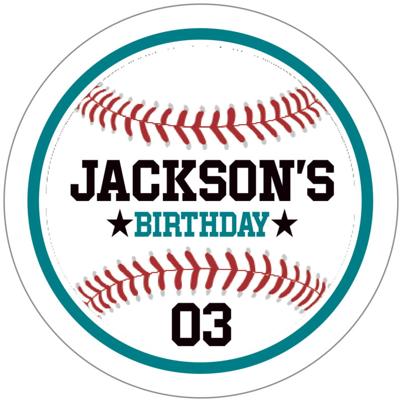 circle food/craft labels - teal & white - baseball (set of 20)