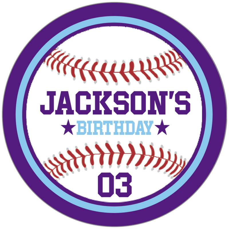 circle food/craft labels - light blue & purple - baseball (set of 20)
