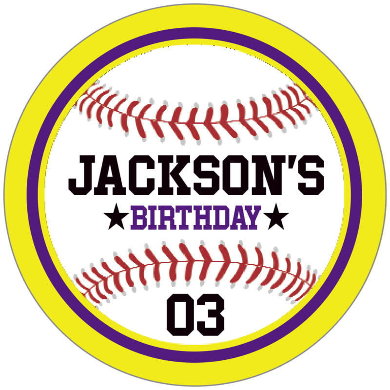 circle food/craft labels - purple & yellow - baseball (set of 20)