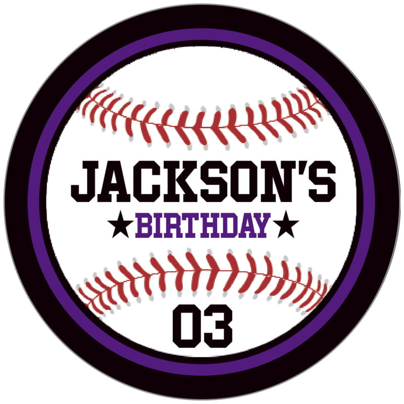 circle food/craft labels - purple & black - baseball (set of 20)