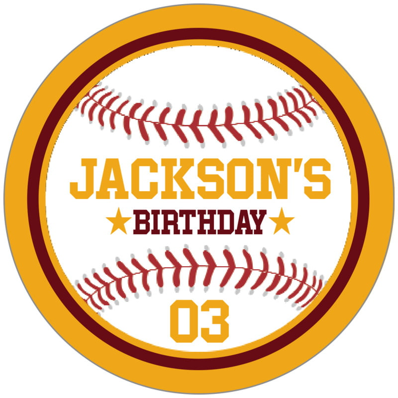circle food/craft labels - maroon & gold - baseball (set of 20)