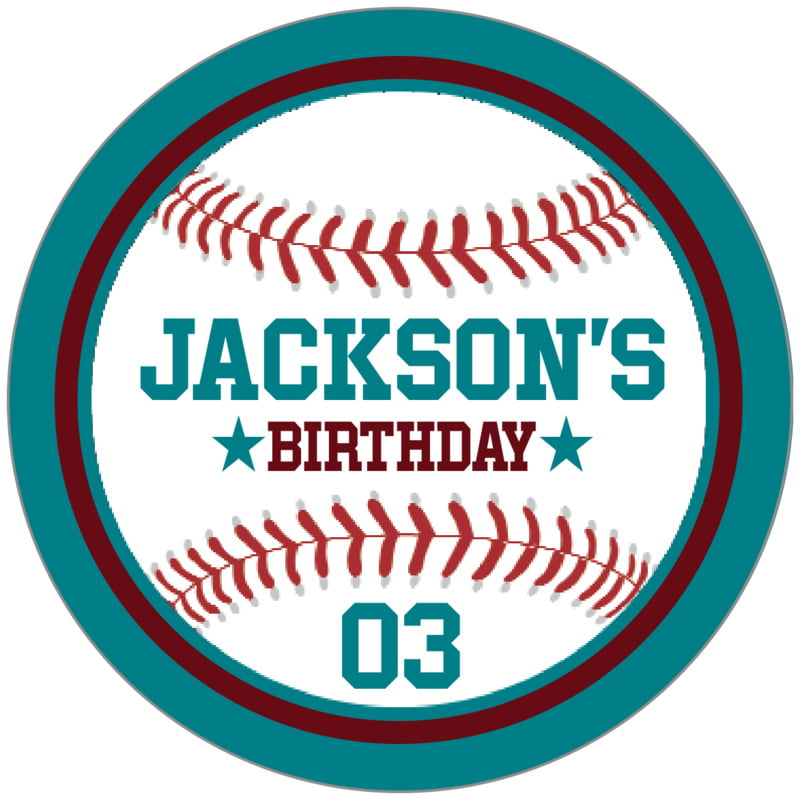circle food/craft labels - maroon & teal - baseball (set of 20)